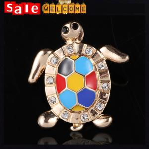 China Multi Colored Crystal Rhinestone Pin Gold Sea Turtle Tortoise Animal Pin Brooch Jewelry on sale
