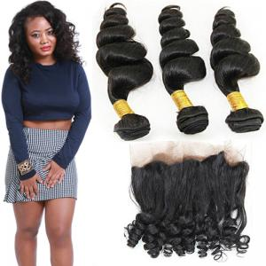 China 8A Smooth 360 Lace Frontal Loose 24 Inch Wave 3 Bundles Human Hair Weave on sale