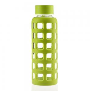 China Borosilicate Glass Sports Water Bottle , Reusable Glass Water Bottles With Silicone Sleeve on sale