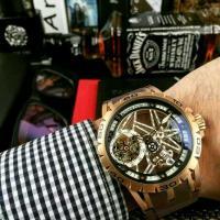 Roger Dubuis Rose Gold Skeleton Tourbillon Mechanical Hand Wind Rubber Strap Watch