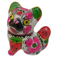 China Colored Drawing on Pottery Clay Sculpture Prosperous Wealth Dog on sale