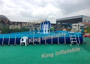 China Blue Dolphin Support Basin Inflatable Water Parks With Slide Plato PVC on sale