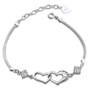China Simple Girl Personalised Jewellery Double Heart 925 Sterling Silver Bracelet on sale