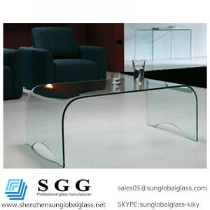 China elegant glass rectangular curved coffee table on sale