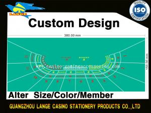Quality Custom Gaming Casino 12 Players Baccarat Table Cloth Replaceable Casino Layout for sale