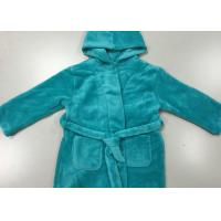 Warm Blue Winter Knit Pajamas Sets Mens Hooded Bathrobes Dressing Gown