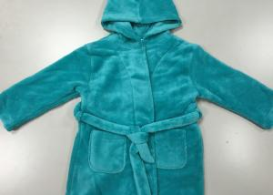 China Warm Blue Winter Knit Pajamas Sets Mens Hooded Bathrobes Dressing Gown on sale