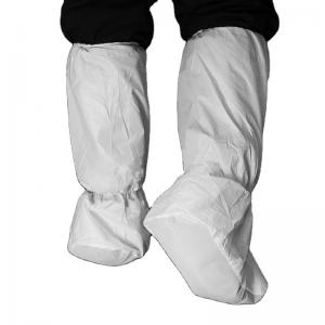China Anti Dust White Disposable Shoe Covers , Disposable Knee High Boot Covers on sale