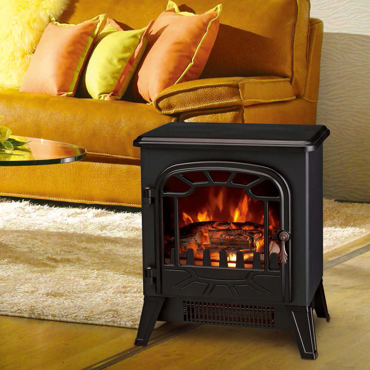 Electric Fireplace Heater Log Burning Flame Effect Antique