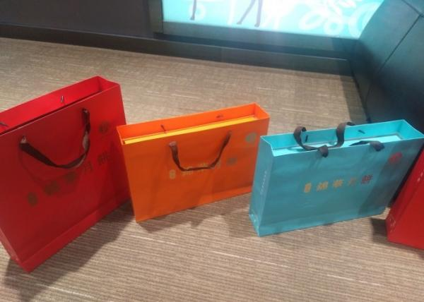 Fashion Colored Paper Gift Bags With Handles Customized Size