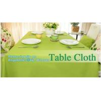 Disposable tnt pp spunbond non woven table cloth, modern luxury restaurant dining used non woven long teal pvc plastic t