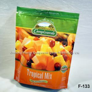 China PA / PE Food Packaging Plastic Bags With Bottom Gusset And Zipper For Frozen Fruit on sale