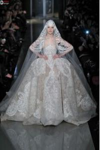 China CH1869 Gorgeous Elie Saab Wedding Dress High End Custom Made Lace Puffy Ball Gown Wedding Dress 2014 on sale