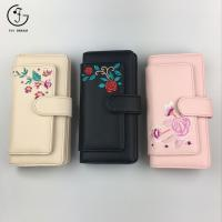 China Black Embroidered PU Leather Women Wallets