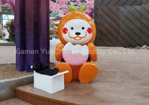 China Outdoor Part Shopping Centre Decorations Fiberglass Statue Orange Cartoon Character on sale