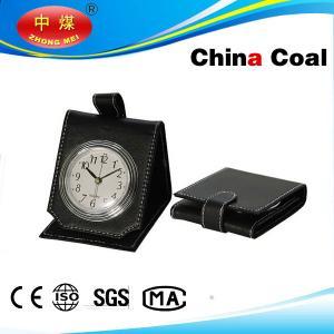 China Folding Black Leather Alarm Clock Portable Artware on sale