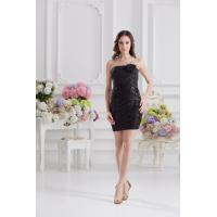 Sequins Tight Strapless A Line Short Womens Cocktail Party Dresses with Flower , Black