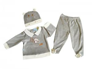 China 3 Pieces Cotton Thermal Grey Baby Layette Set Clothes With Hooded For Boys on sale