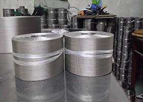 China Silvery Flexible Aluminum Wire Mesh Belt For Plastic Extruder Industry on sale