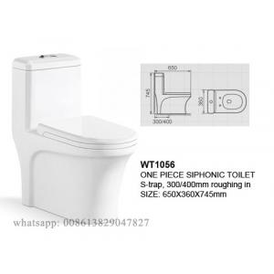 China One-piece Siphonic Toilet S-trap 300/400mm Roughing-in on sale