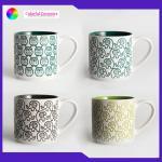 Geometric Silkscreen Silkscreen Coffee Mugs 480ml Stackable Household Tableware