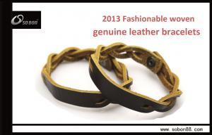 China Hot Sale adjustable personalized fashion custom leather bracelets on sale