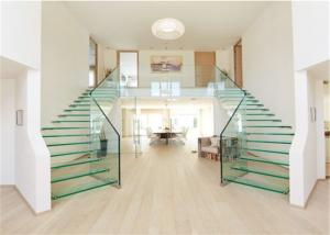 China Prima Building Floating Steps Staircase Laminated Glass Steps Floating Straight Stair supplier
