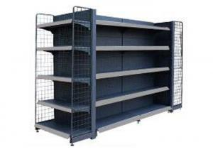 China Movable Epoxy Black Supermarket Display Shelving / Convenience Store Display Racks on sale
