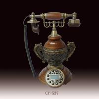 resin antique telephone with vintage style for office decoration