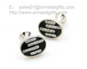 China Czech stone oval cufflinks for men gift, oval stone cuff links for business gift set, on sale