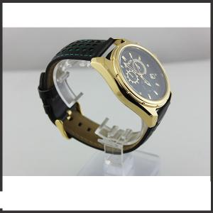 China Durable Big Dial Mens Leather Belt Watches For Sports Auto Date Mineral Glass Material on sale