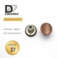 China Decorative Metal Denim Brass Button With Customized Engraved Logo on sale