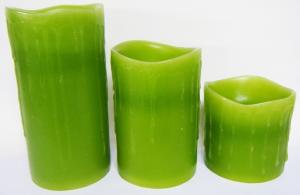 China Green Pillar Flameless LED Candles, Auto Light In The Dark on sale