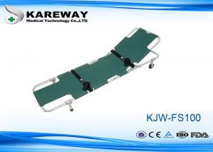 China Easy Fold Wheeled Emergency Folding Stretcher Green Color With Adjustable Back Rest on sale
