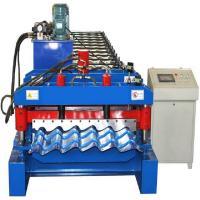 4kw Glazed Tile Roll Forming Machine , Hydraulic Cutting Tile Making Machine