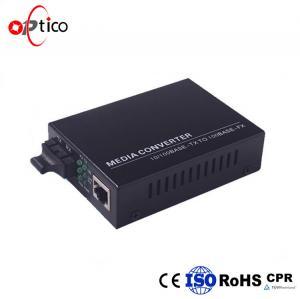 China Optical Fiber Media Converter Single Mode / Multi Mode Black Optical Converter on sale