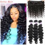 Peruvian Human Virgin Hair Loose Deep Wave 1b Natural Color No Chemical
