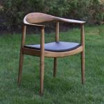 Wooden Frame Hotel Furniture Set Leather Seat  Kennedy Dining Chair Vintage Style