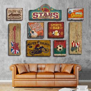 China Wooden Tin Signs Home Bar Hotel Club Wall Art Painting Plaque Party Public Decor Vintage Style  Abstract wood carved on sale