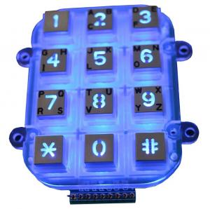 China Small Die Casting Metal Keypad Dot Matrix With 12 Keys , Blacklight on sale