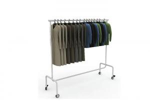 Quality Round Tube Movable Garment Display Stand Chrome Surface Light Duty Simple Style for sale