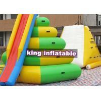 Heat Sealed Inflatable Water Park , Aqua Floating Island Climbing Tower Slide