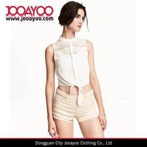 China Summer White / Black Lace Short Sleeveless Blouse With Collar on sale