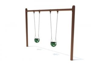China ISO9001 Outdoor Play Swing Set 640 * 128 * 240 CM For Public Places on sale