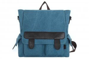 China Blue Shoulder Washed Canvas And Pu Leather Crossbody Handbag Backpack For Women on sale