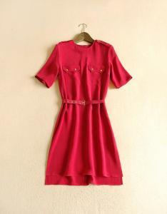 China Womens Dresses , 100% Silk ,Belt With Eyelet , Uniform Look , Drop Height Bottom on sale
