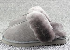 China Luxury Men Merino Mens Fur Lined Slippers Comfortable With 7 -11 USA Sizes on sale
