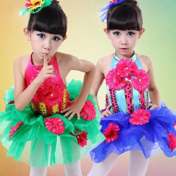 52a7f8d53 girls Sunflower performance sequins veil dance costumes JQ-553 for ...
