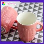 Embossing Sweater Pattern Ceramic Travel Coffee Mugs Promotional Ceramic Cups