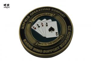 China Bronze Plating Poker Chip Challenge Coins Customised Copper Heavy Weight on sale